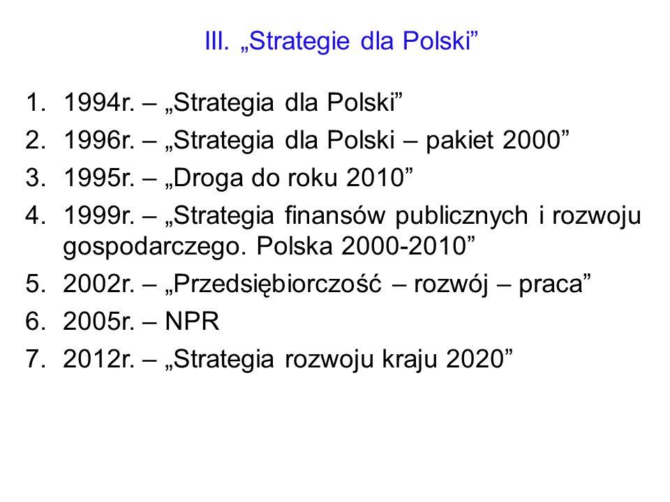 """III. """"Strategie dla Polski"""" 1.1994r. – """"Strategia dla Polski"""" 2.1996r. – """"Strategia dla Polski – pakiet 2000"""" 3.1995r. – """"Droga do roku 2010"""" 4.1999r."""