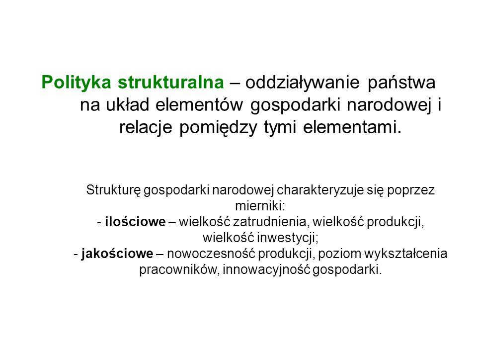 Polityka strukturalna – oddziaływanie państwa na układ elementów gospodarki narodowej i relacje pomiędzy tymi elementami. Strukturę gospodarki narodow