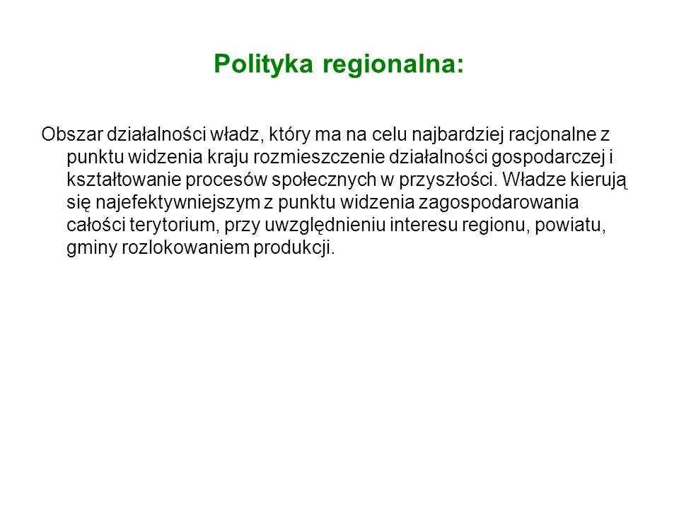 Polityka regionalna: Obszar działalności władz, który ma na celu najbardziej racjonalne z punktu widzenia kraju rozmieszczenie działalności gospodarcz