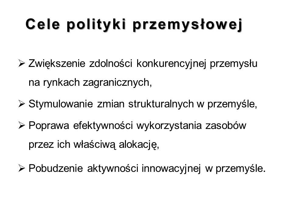 Cele polityki przemysłowej  Zwiększenie zdolności konkurencyjnej przemysłu na rynkach zagranicznych,  Stymulowanie zmian strukturalnych w przemyśle,