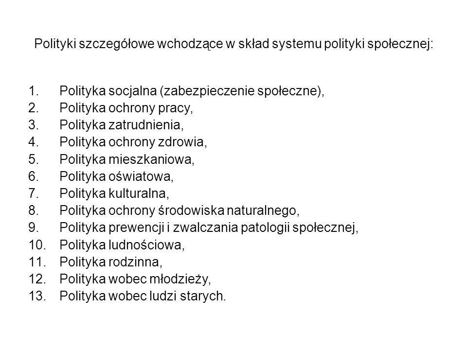 Polityki szczegółowe wchodzące w skład systemu polityki społecznej: 1.Polityka socjalna (zabezpieczenie społeczne), 2.Polityka ochrony pracy, 3.Polity