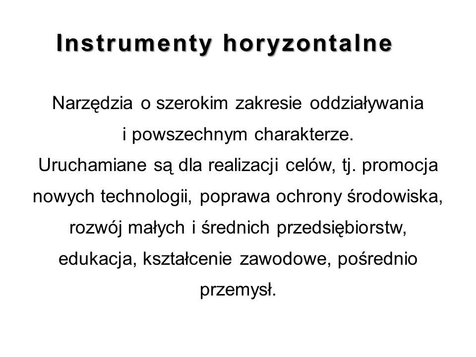 Instrumenty horyzontalne Narzędzia o szerokim zakresie oddziaływania i powszechnym charakterze. Uruchamiane są dla realizacji celów, tj. promocja nowy