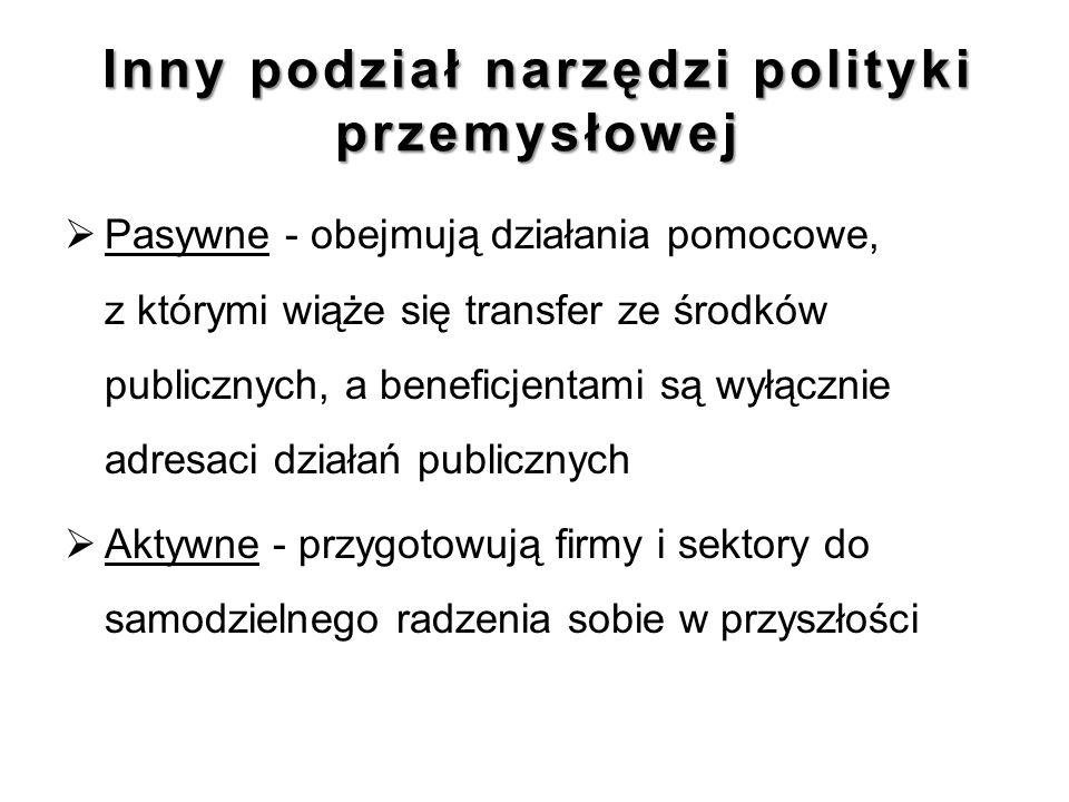 Inny podział narzędzi polityki przemysłowej  Pasywne - obejmują działania pomocowe, z którymi wiąże się transfer ze środków publicznych, a beneficjen