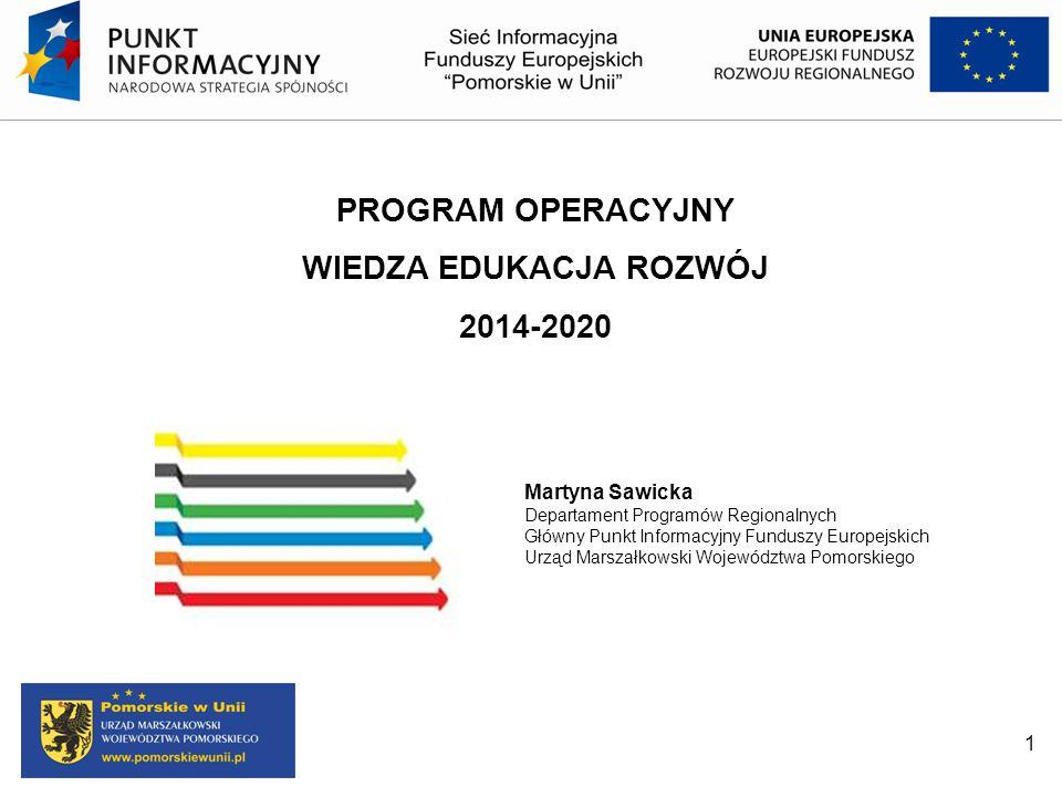 1 PROGRAM OPERACYJNY WIEDZA EDUKACJA ROZWÓJ 2014-2020 Martyna Sawicka Departament Programów Regionalnych Główny Punkt Informacyjny Funduszy Europejski