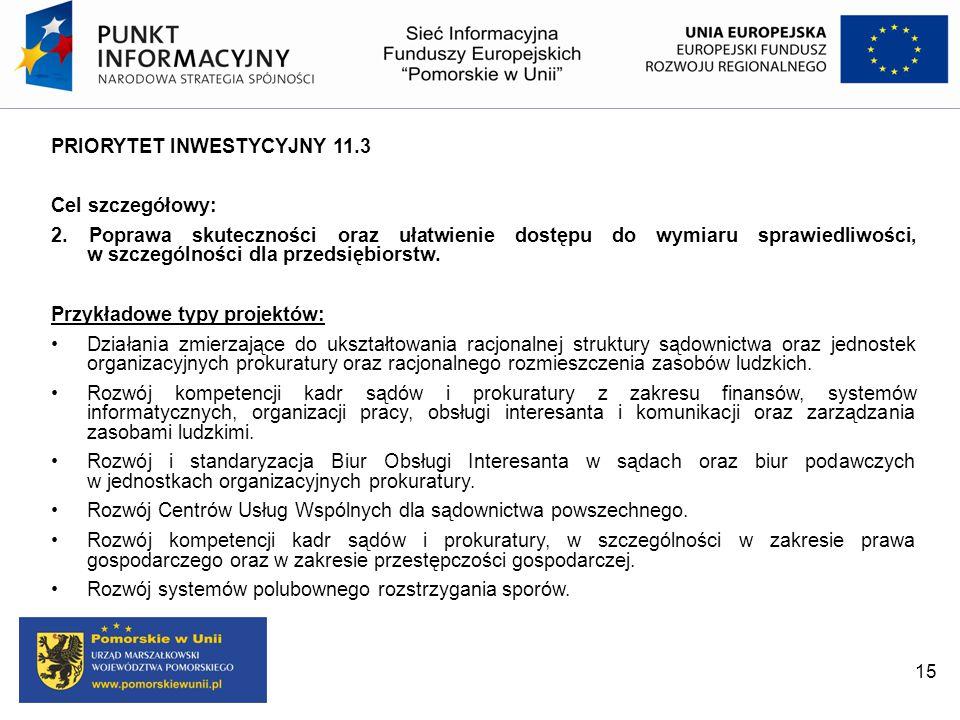 PRIORYTET INWESTYCYJNY 11.3 Cel szczegółowy: 2. Poprawa skuteczności oraz ułatwienie dostępu do wymiaru sprawiedliwości, w szczególności dla przedsięb