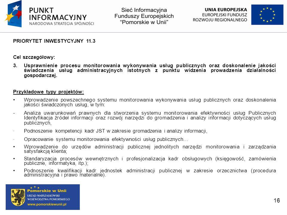 PRIORYTET INWESTYCYJNY 11.3 Cel szczegółowy: 3. Usprawnienie procesu monitorowania wykonywania usług publicznych oraz doskonalenie jakości świadczenia