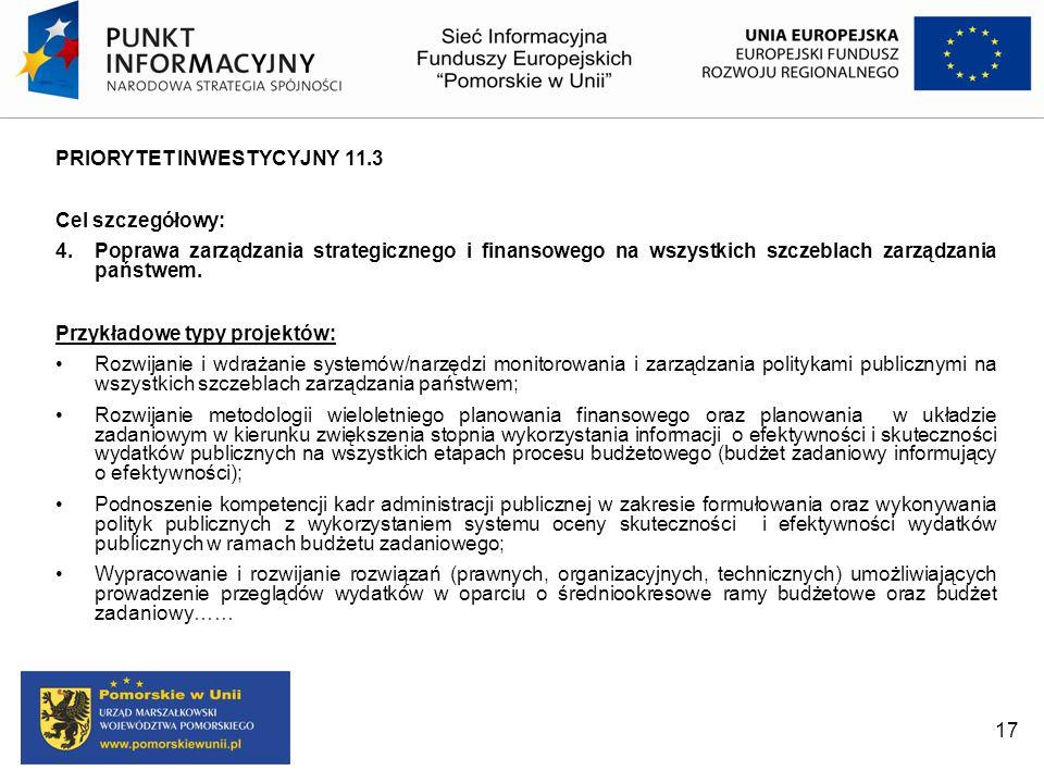 PRIORYTET INWESTYCYJNY 11.3 Cel szczegółowy: 4. Poprawa zarządzania strategicznego i finansowego na wszystkich szczeblach zarządzania państwem. Przykł