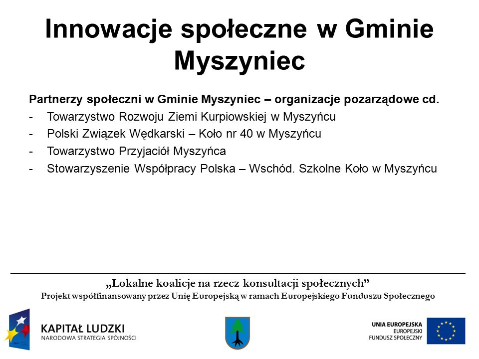 Partnerzy społeczni w Gminie Myszyniec – organizacje pozarządowe cd.