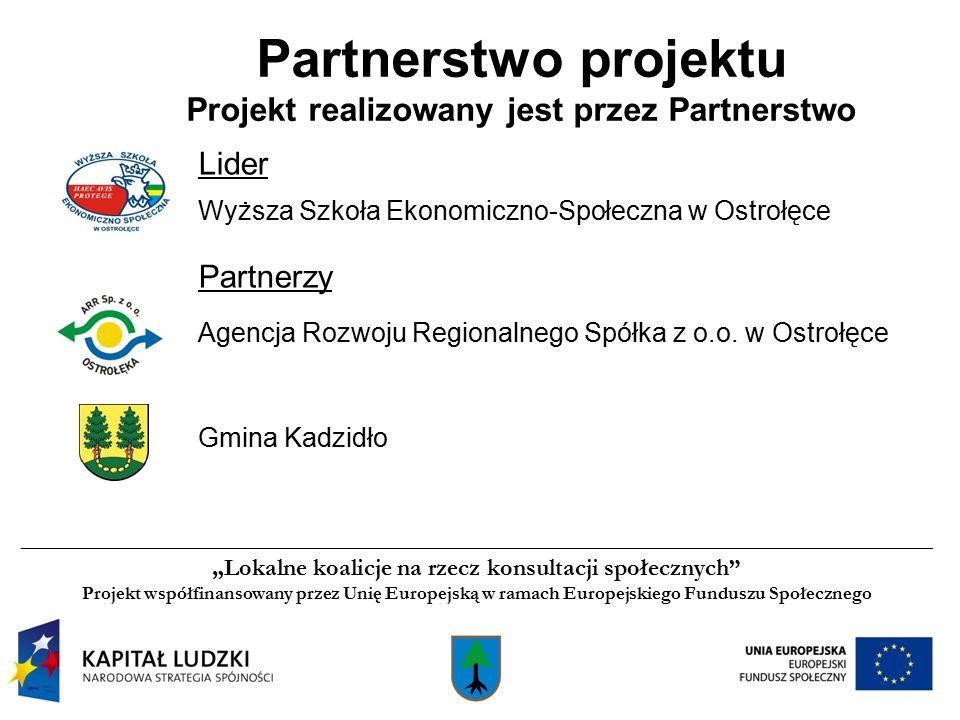 Partnerstwo projektu Projekt realizowany jest przez Partnerstwo Lider Wyższa Szkoła Ekonomiczno-Społeczna w Ostrołęce Partnerzy Agencja Rozwoju Regionalnego Spółka z o.o.