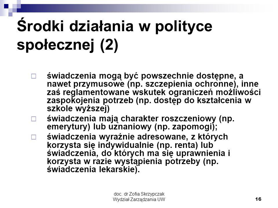 doc. dr Zofia Skrzypczak Wydział Zarządzania UW16 Środki działania w polityce społecznej (2)  świadczenia mogą być powszechnie dostępne, a nawet przy