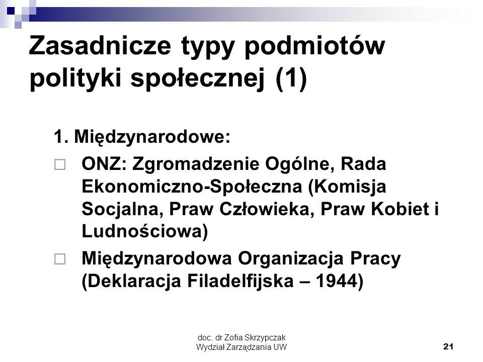 doc. dr Zofia Skrzypczak Wydział Zarządzania UW21 Zasadnicze typy podmiotów polityki społecznej (1) 1. Międzynarodowe:  ONZ: Zgromadzenie Ogólne, Rad