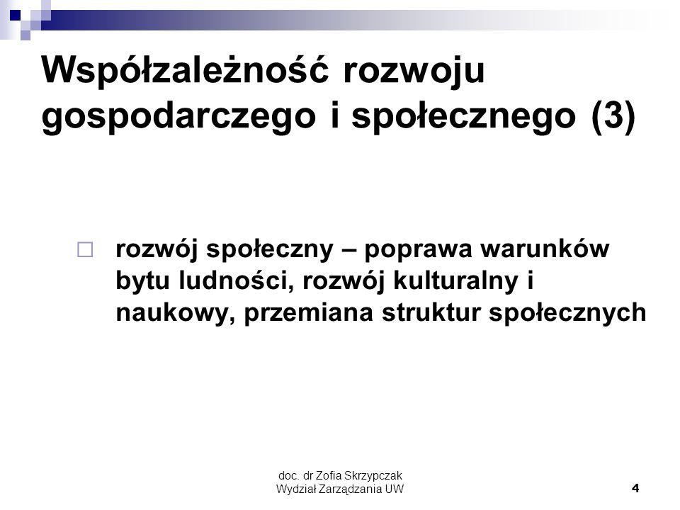 doc. dr Zofia Skrzypczak Wydział Zarządzania UW4 Współzależność rozwoju gospodarczego i społecznego (3)  rozwój społeczny – poprawa warunków bytu lud