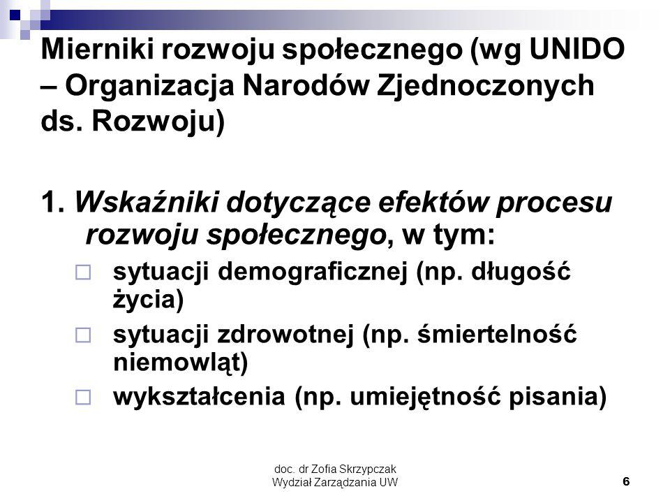 doc. dr Zofia Skrzypczak Wydział Zarządzania UW6 Mierniki rozwoju społecznego (wg UNIDO – Organizacja Narodów Zjednoczonych ds. Rozwoju) 1. Wskaźniki