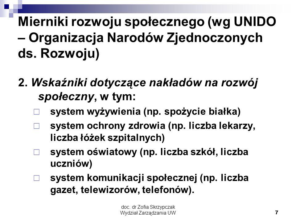 doc. dr Zofia Skrzypczak Wydział Zarządzania UW7 Mierniki rozwoju społecznego (wg UNIDO – Organizacja Narodów Zjednoczonych ds. Rozwoju) 2. Wskaźniki
