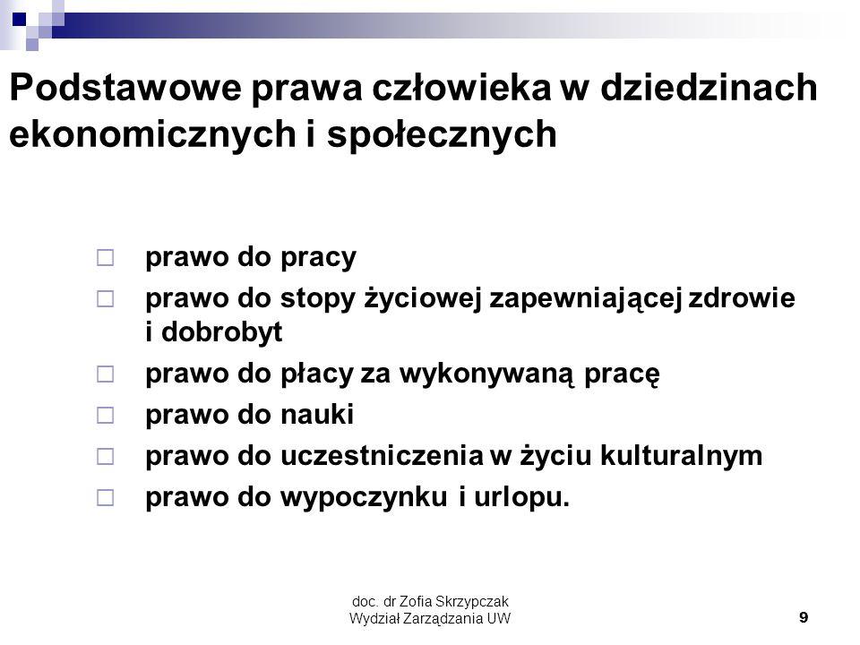 doc.dr Zofia Skrzypczak Wydział Zarządzania UW10 Modele kształtujące politykę społeczną (1) 1.