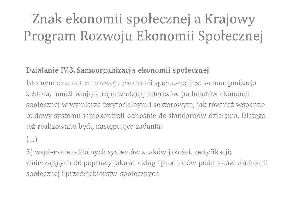 Znak ekonomii społecznej a Krajowy Program Rozwoju Ekonomii Społecznej Działanie IV.3.