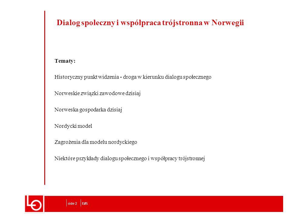 Dialog społeczny i współpraca trójstronna w Norwegii Tematy: Historyczny punkt widzenia - droga w kierunku dialogu społecznego Norweskie związki zawodowe dzisiaj Norweska gospodarka dzisiaj Nordycki model Zagrożenia dla modelu nordyckiego Niektóre przykłady dialogu społecznego i współpracy trójstronnej EØSside 2
