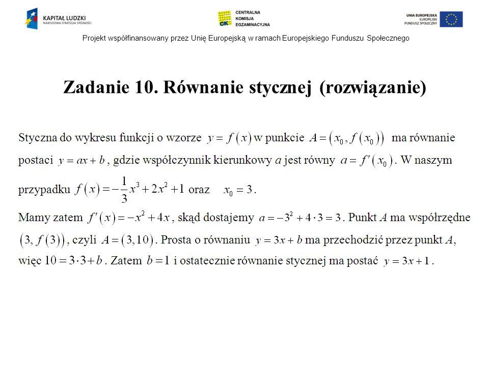 Projekt współfinansowany przez Unię Europejską w ramach Europejskiego Funduszu Społecznego Zadanie 10. Równanie stycznej (rozwiązanie)