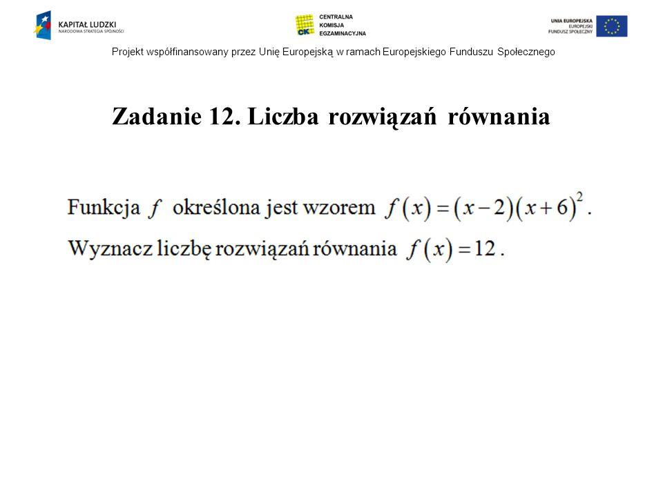 Projekt współfinansowany przez Unię Europejską w ramach Europejskiego Funduszu Społecznego Zadanie 12. Liczba rozwiązań równania