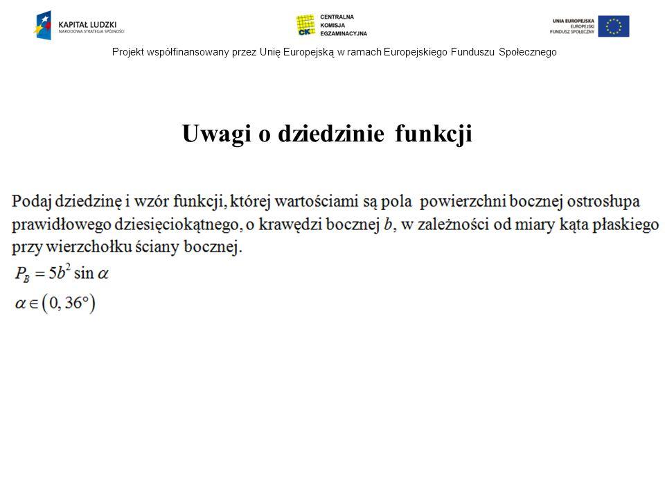 Projekt współfinansowany przez Unię Europejską w ramach Europejskiego Funduszu Społecznego Uwagi o dziedzinie funkcji