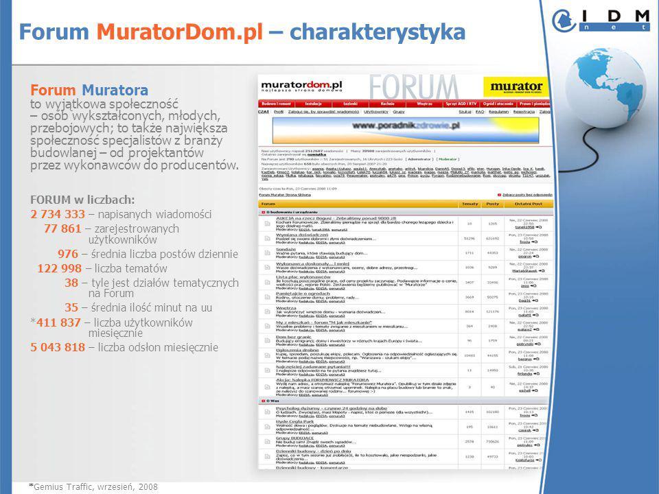 Forum MuratorDom.pl – charakterystyka Forum Muratora to wyjątkowa społeczność – osób wykształconych, młodych, przebojowych; to także największa społec