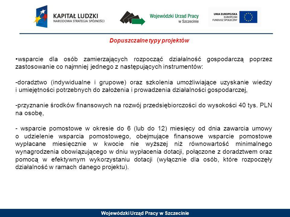 Wojewódzki Urząd Pracy w Szczecinie Dopuszczalne typy projektów wsparcie dla osób zamierzających rozpocząć działalność gospodarczą poprzez zastosowanie co najmniej jednego z następujących instrumentów: -doradztwo (indywidualne i grupowe) oraz szkolenia umożliwiające uzyskanie wiedzy i umiejętności potrzebnych do założenia i prowadzenia działalności gospodarczej, -przyznanie środków finansowych na rozwój przedsiębiorczości do wysokości 40 tys.