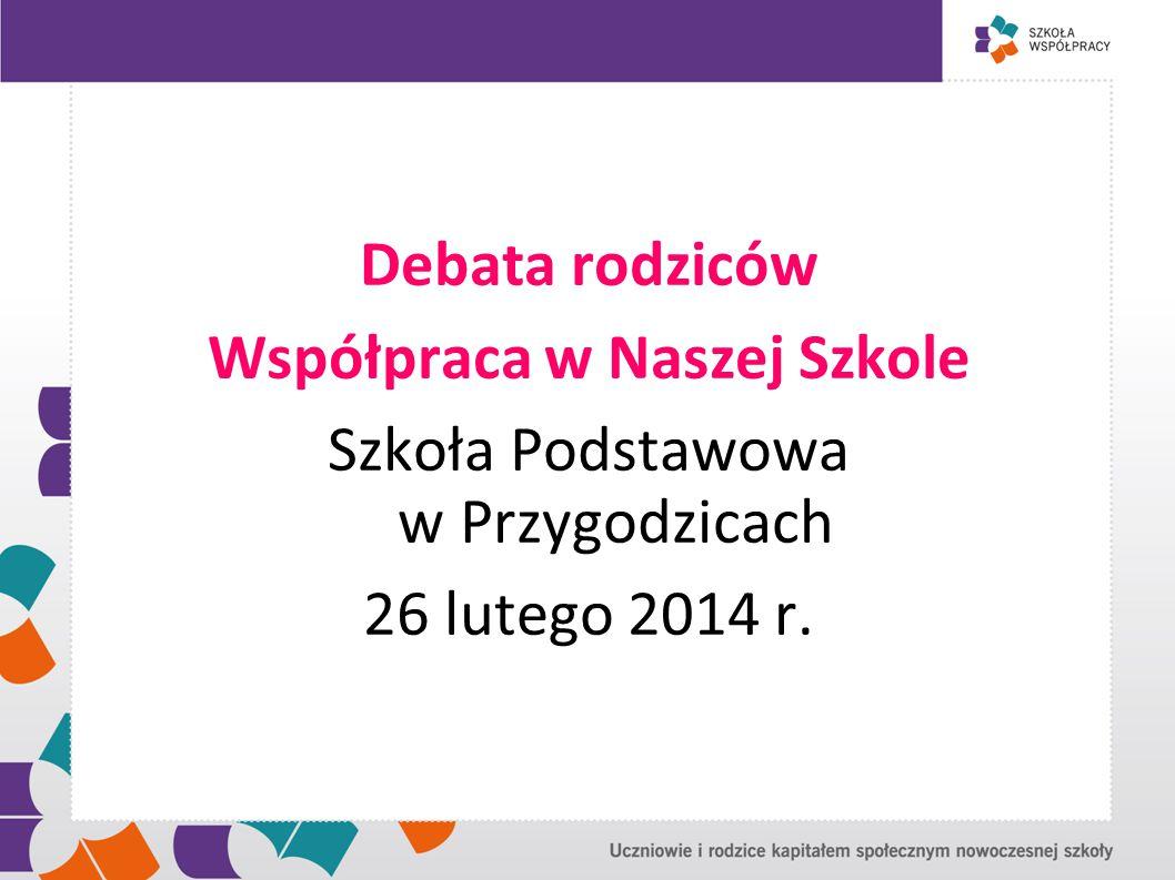 Debata rodziców Współpraca w Naszej Szkole Szkoła Podstawowa w Przygodzicach 26 lutego 2014 r.