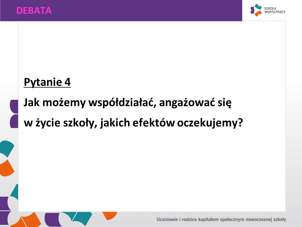 DEBATA Pytanie 4 Jak możemy współdziałać, angażować się w życie szkoły, jakich efektów oczekujemy?