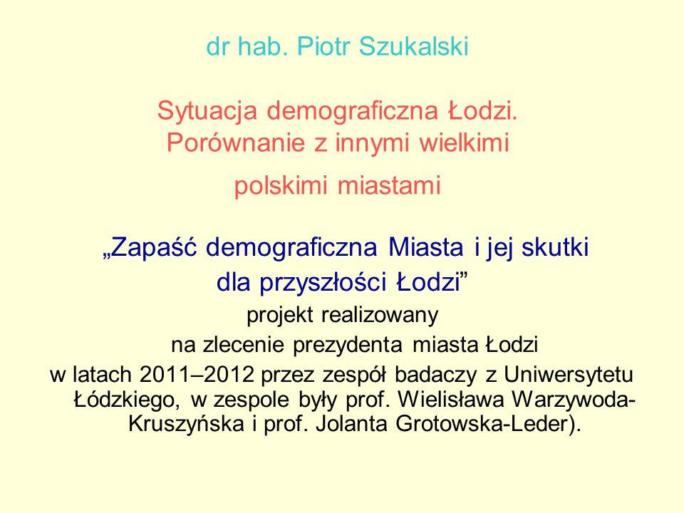 """dr hab. Piotr Szukalski Sytuacja demograficzna Łodzi. Porównanie z innymi wielkimi polskimi miastami """"Zapaść demograficzna Miasta i jej skutki dla prz"""