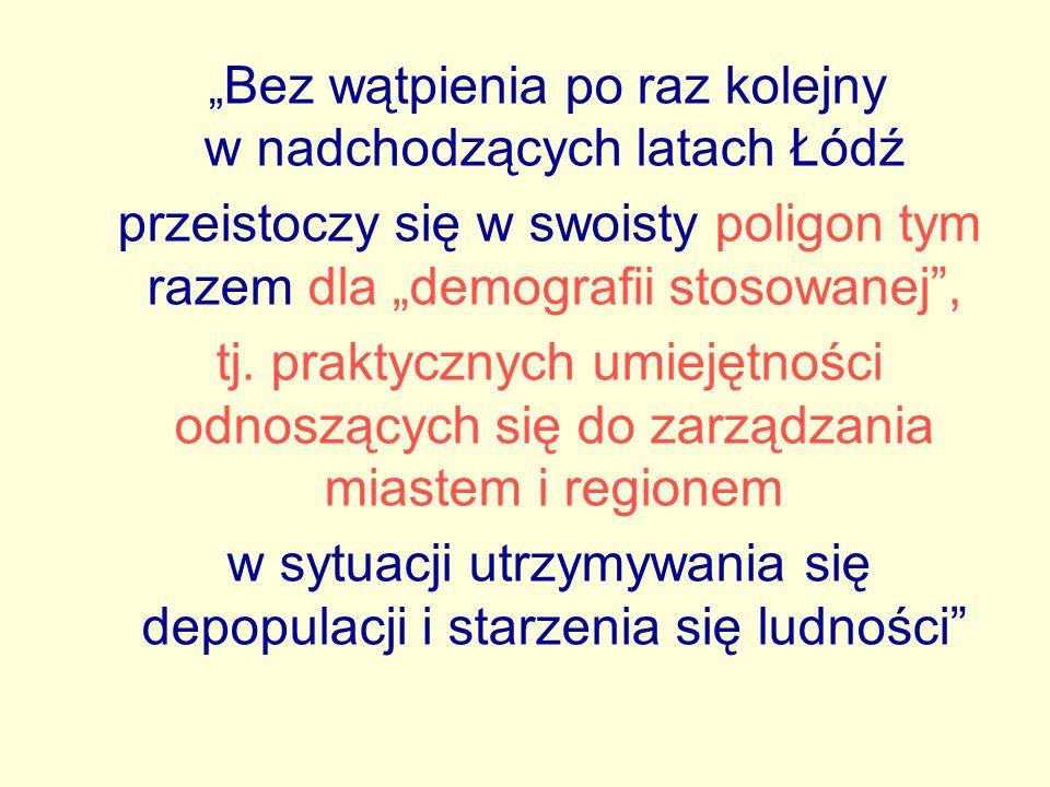 """"""" Bez wątpienia po raz kolejny w nadchodzących latach Łódź przeistoczy się w swoisty poligon tym razem dla """"demografii stosowanej"""", tj. praktycznych u"""