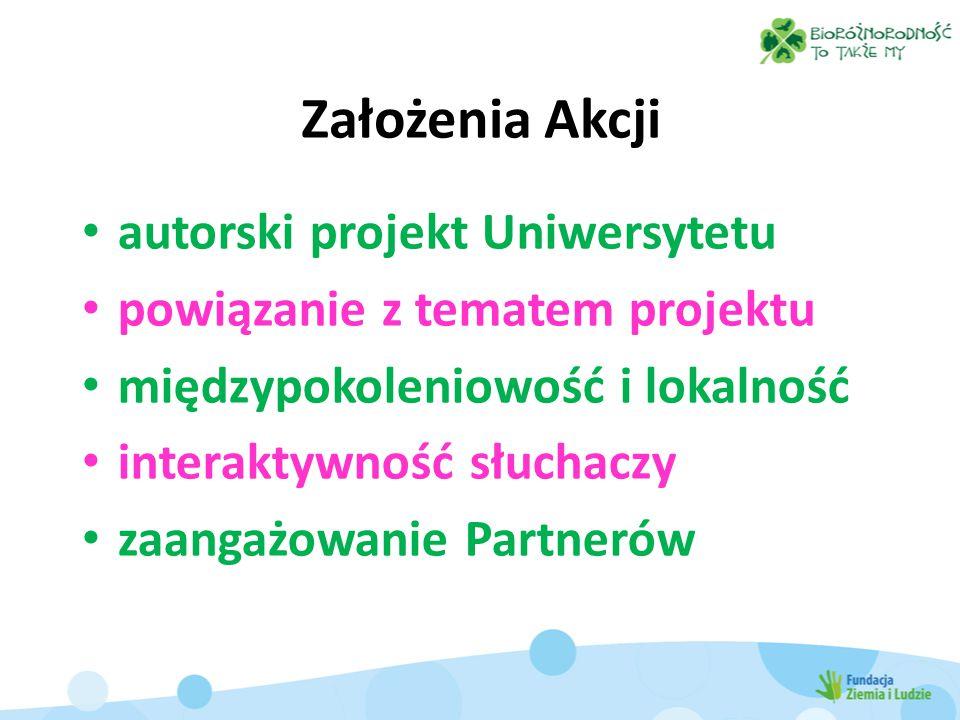 Założenia Akcji autorski projekt Uniwersytetu powiązanie z tematem projektu międzypokoleniowość i lokalność interaktywność słuchaczy zaangażowanie Partnerów