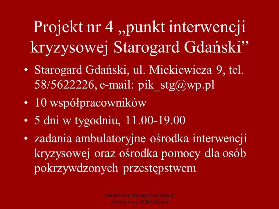 """Projekt nr 4 """"punkt interwencji kryzysowej Starogard Gdański"""" Starogard Gdański, ul. Mickiewicza 9, tel. 58/5622226, e-mail: pik_stg@wp.pl 10 współpra"""
