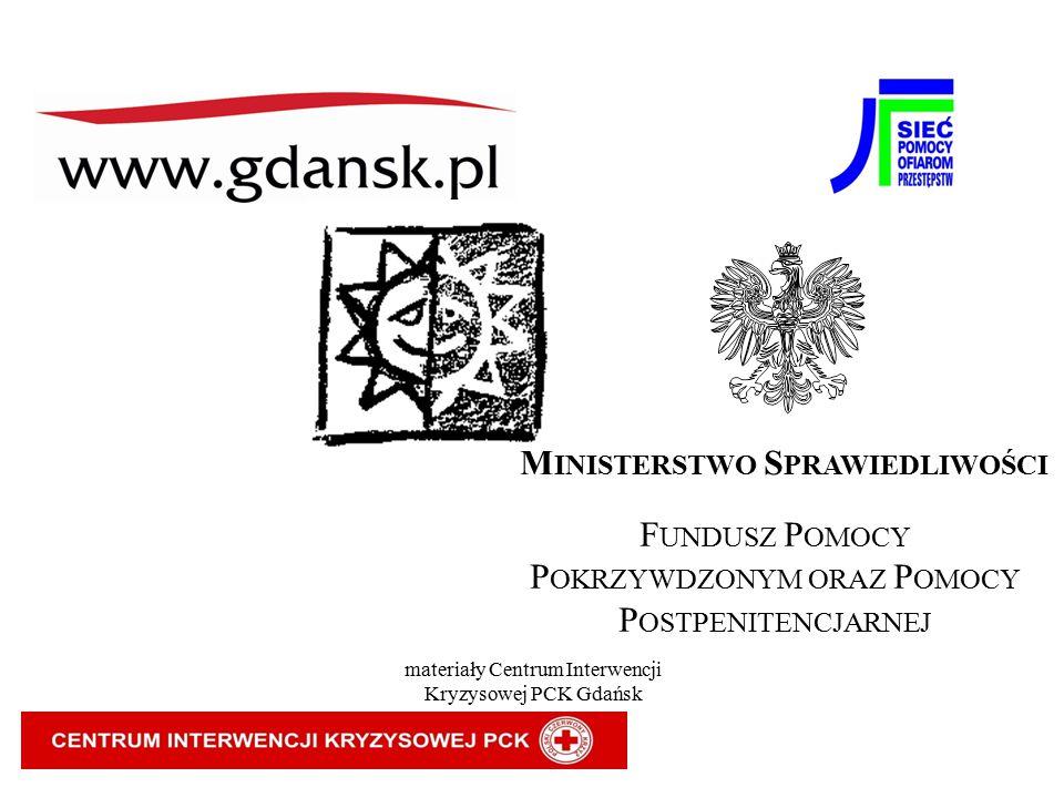 M INISTERSTWO S PRAWIEDLIWOŚCI F UNDUSZ P OMOCY P OKRZYWDZONYM ORAZ P OMOCY P OSTPENITENCJARNEJ materiały Centrum Interwencji Kryzysowej PCK Gdańsk