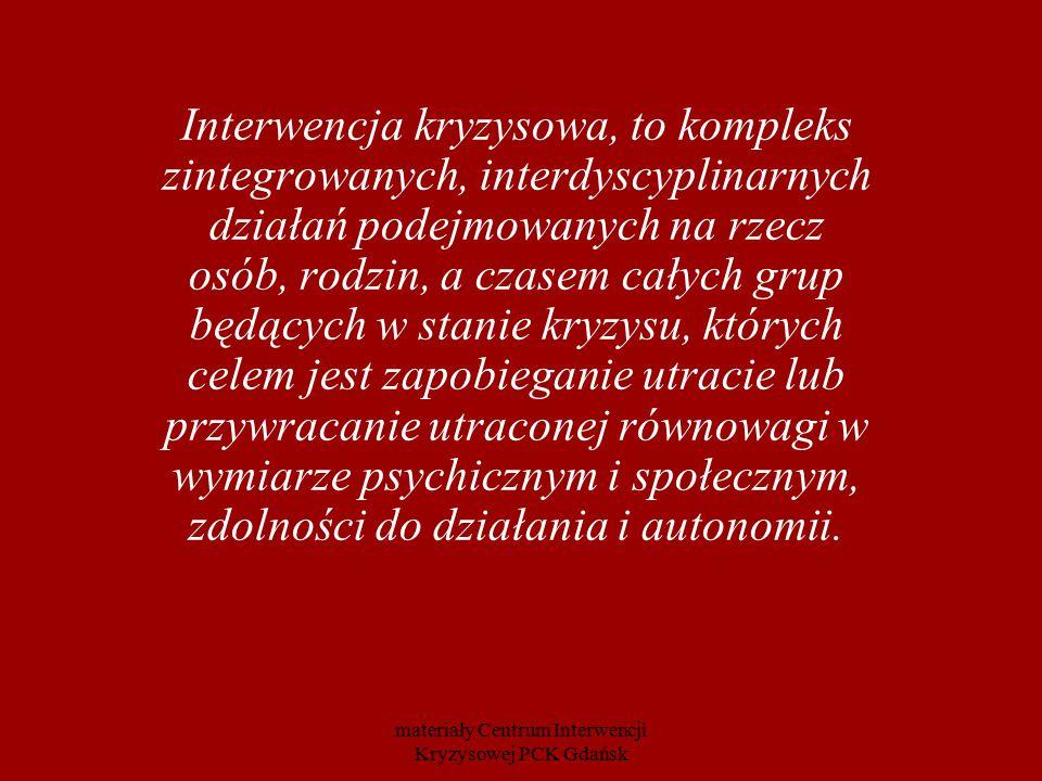 Interwencja kryzysowa, to kompleks zintegrowanych, interdyscyplinarnych działań podejmowanych na rzecz osób, rodzin, a czasem całych grup będących w s