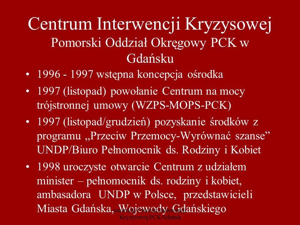 Centrum Interwencji Kryzysowej Pomorski Oddział Okręgowy PCK w Gdańsku 1996 - 1997 wstępna koncepcja ośrodka 1997 (listopad) powołanie Centrum na mocy