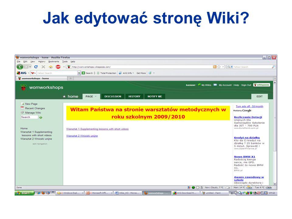 Jak edytować stronę Wiki?