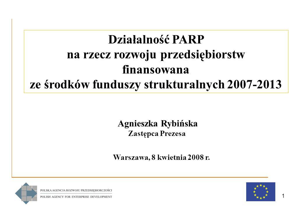 1 Działalność PARP na rzecz rozwoju przedsiębiorstw finansowana ze środków funduszy strukturalnych 2007-2013 Agnieszka Rybińska Zastępca Prezesa Warszawa, 8 kwietnia 2008 r.