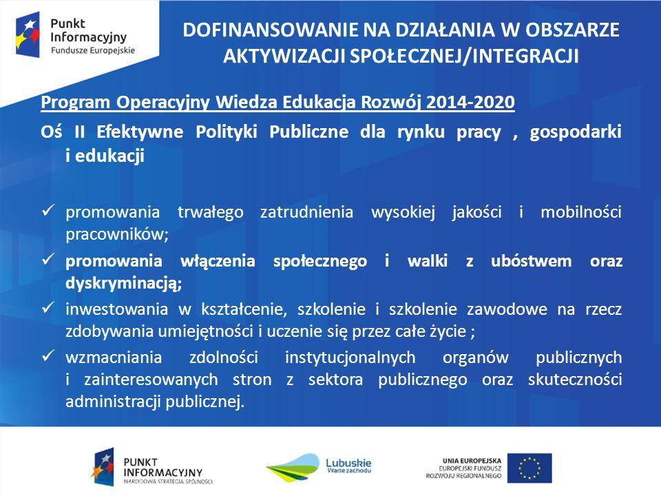 DOFINANSOWANIE NA DZIAŁANIA W OBSZARZE AKTYWIZACJI SPOŁECZNEJ/INTEGRACJI Program Operacyjny Wiedza Edukacja Rozwój 2014-2020 Oś II Efektywne Polityki