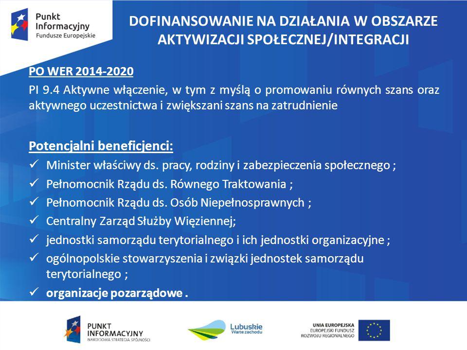 DOFINANSOWANIE NA DZIAŁANIA W OBSZARZE AKTYWIZACJI SPOŁECZNEJ/INTEGRACJI PO WER 2014-2020 PI 9.4 Aktywne włączenie, w tym z myślą o promowaniu równych szans oraz aktywnego uczestnictwa i zwiększani szans na zatrudnienie Potencjalni beneficjenci: Minister właściwy ds.
