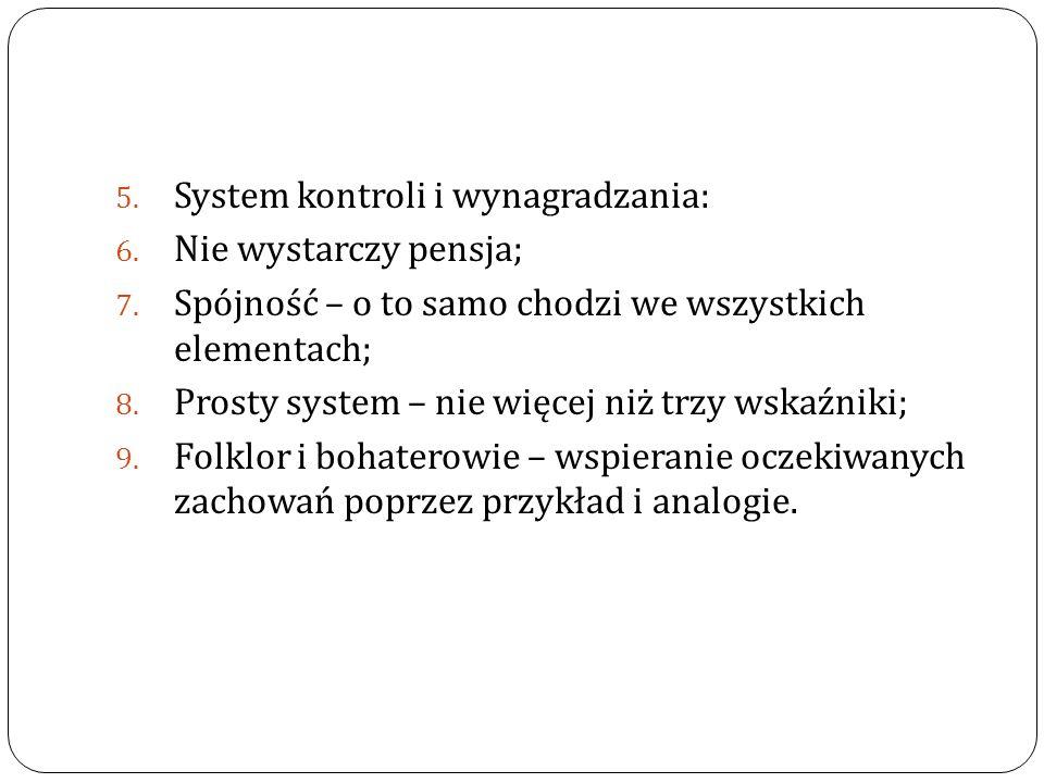 5. System kontroli i wynagradzania: 6. Nie wystarczy pensja; 7. Spójność – o to samo chodzi we wszystkich elementach; 8. Prosty system – nie więcej ni