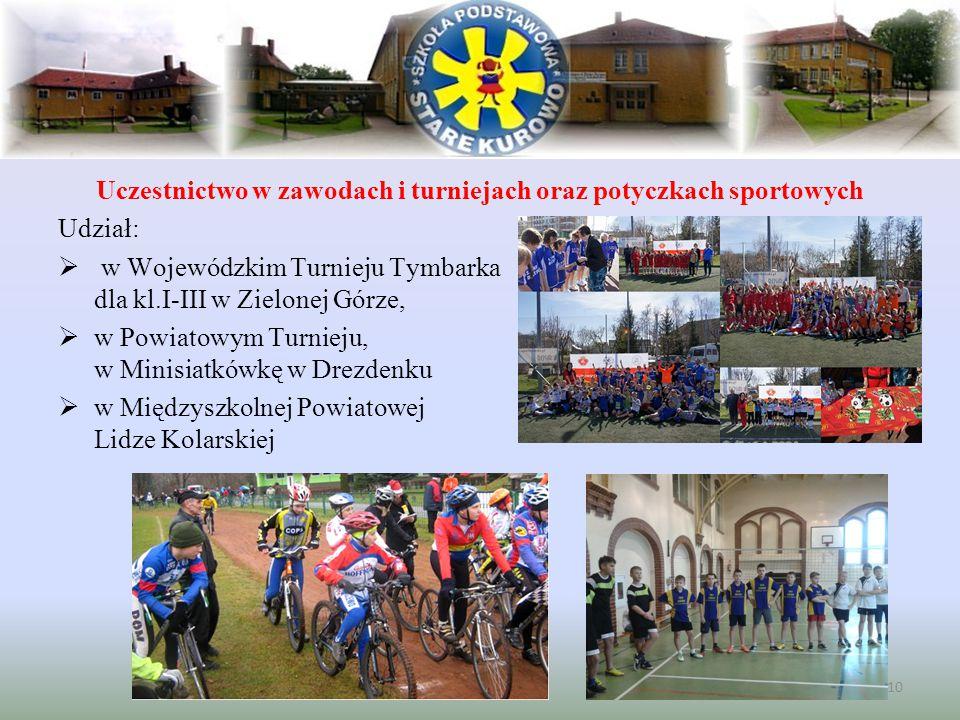 Uczestnictwo w zawodach i turniejach oraz potyczkach sportowych Udział:  w Wojewódzkim Turnieju Tymbarka dla kl.I-III w Zielonej Górze,  w Powiatowy
