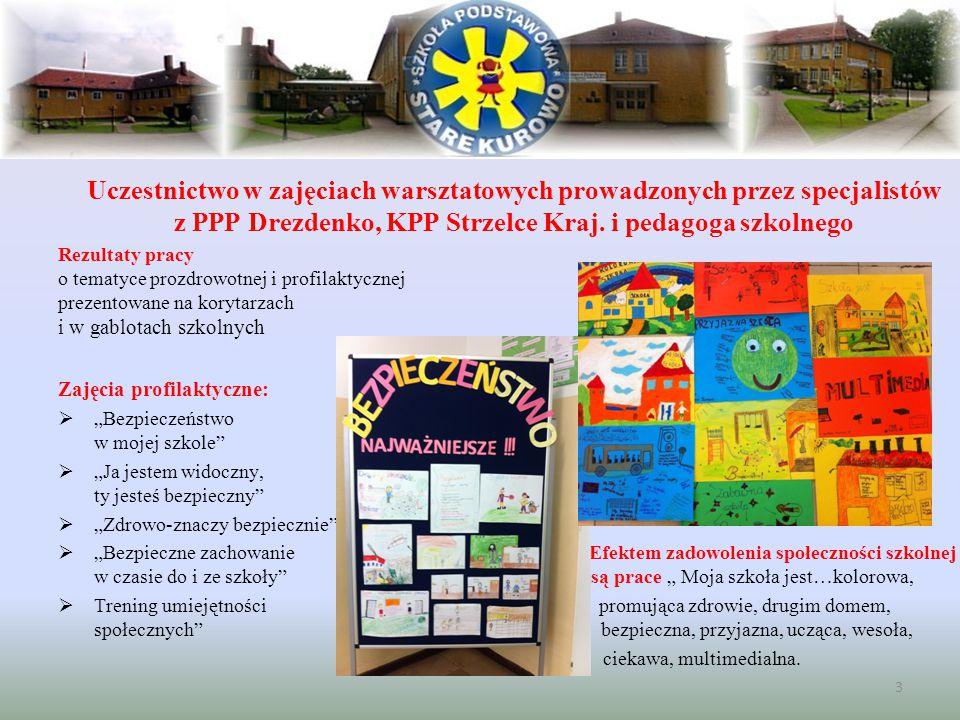 Uczestnictwo w zajęciach warsztatowych prowadzonych przez specjalistów z PPP Drezdenko, KPP Strzelce Kraj. i pedagoga szkolnego Rezultaty pracy o tema
