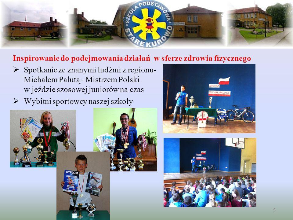 Inspirowanie do podejmowania działań w sferze zdrowia fizycznego  Spotkanie ze znanymi ludźmi z regionu- Michałem Palutą –Mistrzem Polski w jeździe s