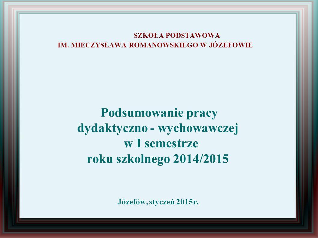 SZKOŁA PODSTAWOWA IM. MIECZYSŁAWA ROMANOWSKIEGO W JÓZEFOWIE Podsumowanie pracy dydaktyczno - wychowawczej w I semestrze roku szkolnego 2014/2015 Józef