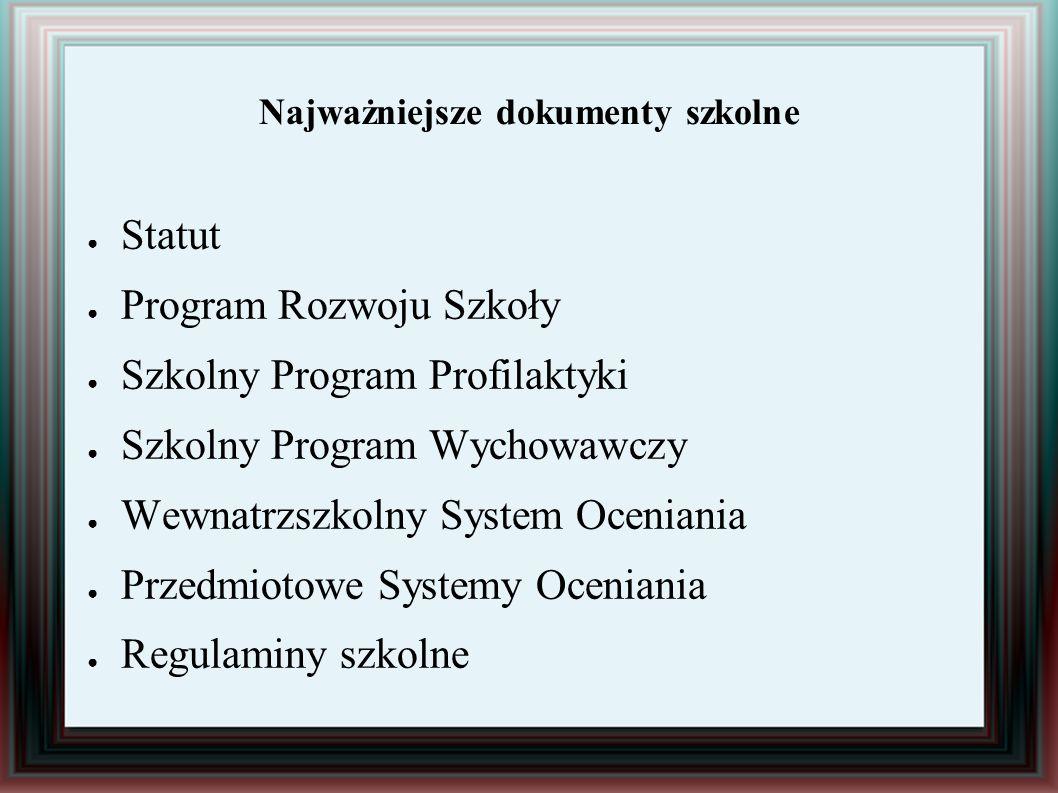 Najważniejsze dokumenty szkolne ● Statut ● Program Rozwoju Szkoły ● Szkolny Program Profilaktyki ● Szkolny Program Wychowawczy ● Wewnatrzszkolny Syste