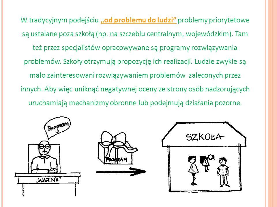 """W tradycyjnym podejściu """"od problemu do ludzi"""" problemy priorytetowe są ustalane poza szkołą (np. na szczeblu centralnym, wojewódzkim). Tam też przez"""
