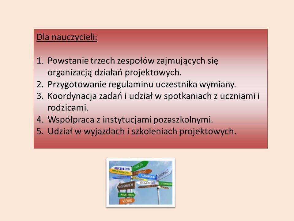 Dla nauczycieli: 1.Powstanie trzech zespołów zajmujących się organizacją działań projektowych. 2.Przygotowanie regulaminu uczestnika wymiany. 3.Koordy