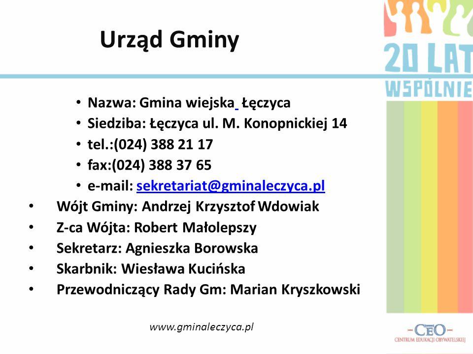 Nazwa: Gmina wiejska Łęczyca Siedziba: Łęczyca ul. M. Konopnickiej 14 tel.:(024) 388 21 17 fax:(024) 388 37 65 e-mail: sekretariat@gminaleczyca.plsekr