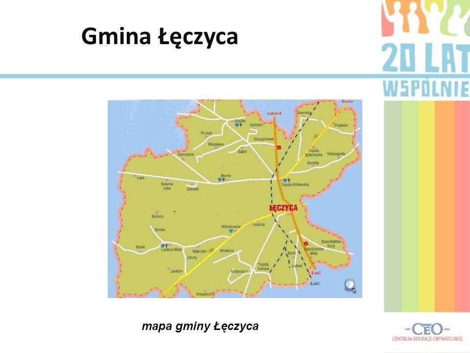 Położenie Gminy Gmina Łęczyca zajmuje część powiatu łęczyckiego i graniczy od południa z powiatem poddębickim i zgierskim, od zachodu z gminą Świnice Warckie i gminą Grabów, od północy z gminą Daszyna i gminą Grabów, a od wschodu z gminami Witonia i Góra św.