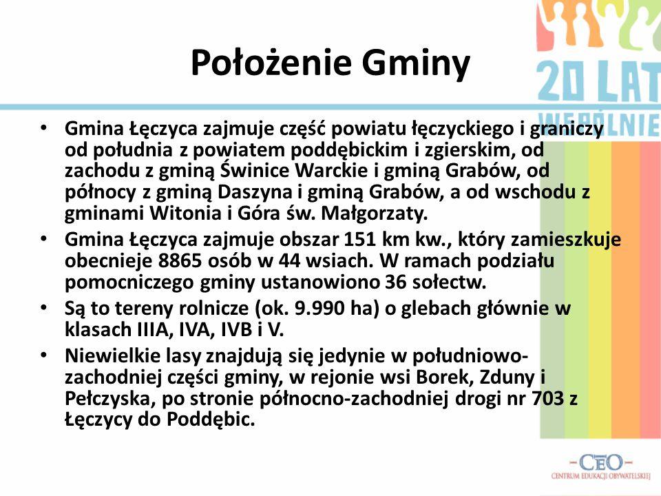 Położenie Gminy Gmina Łęczyca zajmuje część powiatu łęczyckiego i graniczy od południa z powiatem poddębickim i zgierskim, od zachodu z gminą Świnice